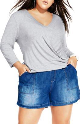 City Chic Crisscross Long Sleeve Jersey Top