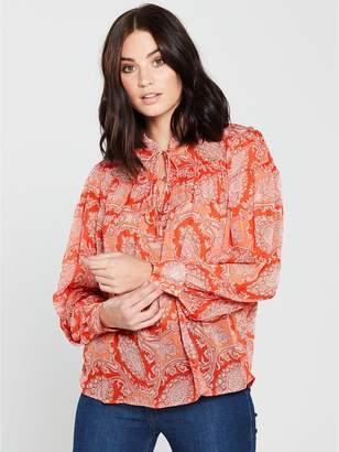 MANGO Paisley Print Blouse - Orange