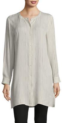 Eileen Fisher Striped Silk Long Shirt