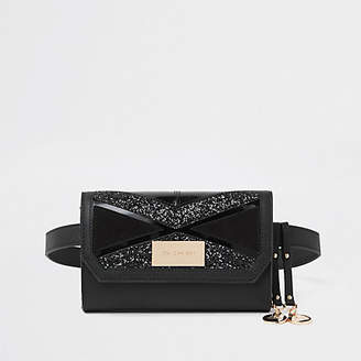 River Island Black cutabout panel belt bum bag