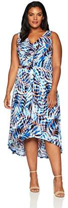 London Times Women's Plus Size Sleeveless V Neck HI Low Dress
