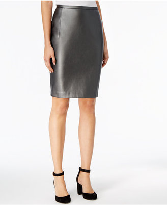 Tommy Hilfiger Faux-Leather Straight Skirt $79 thestylecure.com