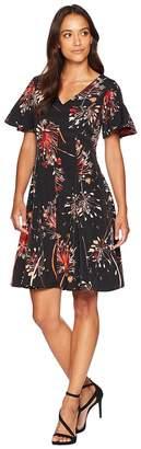 London Times Pleat Shoulder Fit Flare Women's Dress