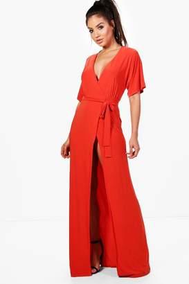 boohoo Ida Kimono Sleeve Wrap Maxi Dress $50 thestylecure.com