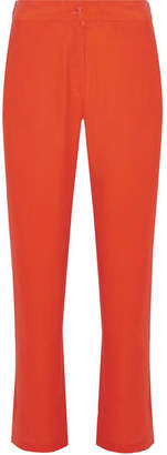 Equipment Niko Washed-silk Wide-leg Pants - Bright orange