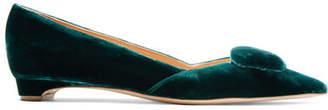 Rupert Sanderson Aga Velvet Point-toe Flats - Emerald