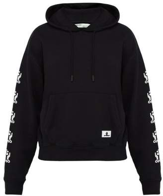 Off-White Off White Hands Logo Print Cotton Hooded Sweatshirt - Mens - Black