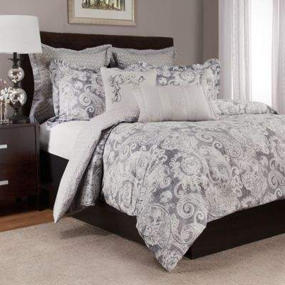 Lyon Reversible Twin Duvet Cover Set in Grey