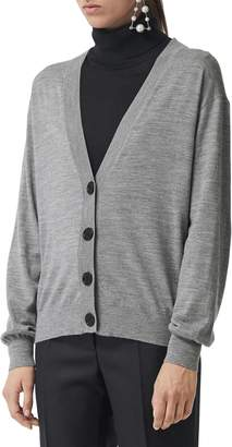 Burberry Dornoch Check Detail Merino Wool Cardigan