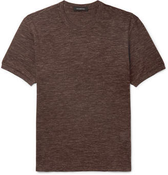 Ermenegildo Zegna Melange Silk and Linen-Blend Jersey T-Shirt - Men - Brown