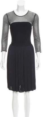 Oscar de la Renta Metallic-Accented A-Line Dress