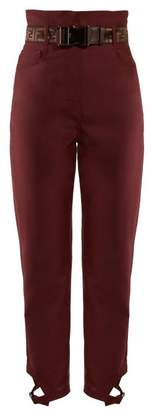 Fendi High Rise Cropped Mohair And Wool Trousers - Womens - Burgundy