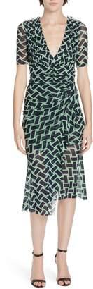 Diane von Furstenberg Farrell Basketweave Print Asymmetrical Mesh Dress