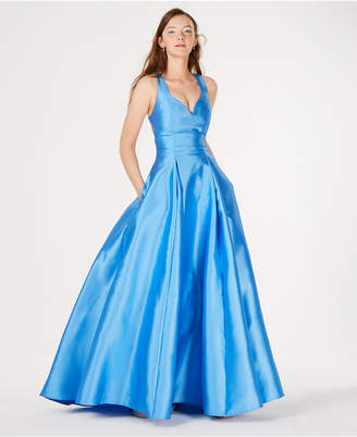 B. Darlin Juniors' Cage-Back Satin Ballgown