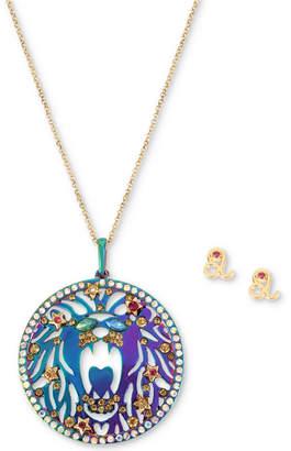 "Betsey Johnson Two-Tone Multi-Stone Leo Zodiac Pendant Necklace & Stud Earrings Set, 21-1/2"" + 3"" extender"