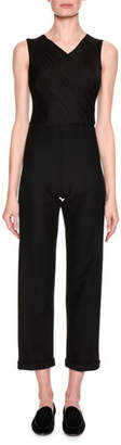 Giorgio Armani High-V Sleeveless Cropped Jumpsuit, Black