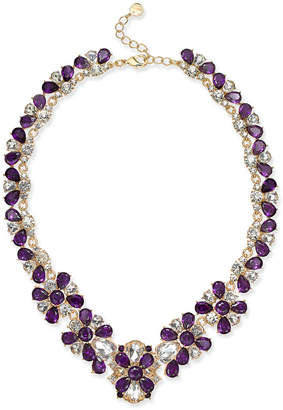 "Charter Club Gold-Tone Amethyst Crystal Statement Necklace, 17-1/2"" + 2"" extender"