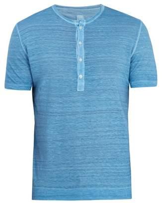 120% Lino Half Button Linen Jersey T Shirt - Mens - Mid Blue