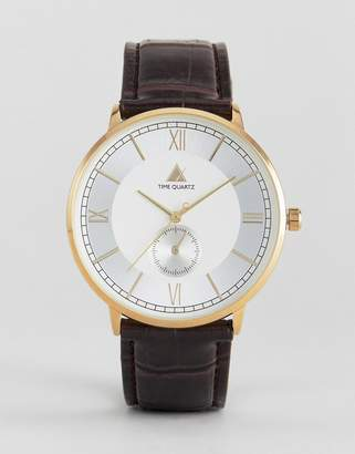 Asos Watch With Brown Faux Crocodile Strap And Roman Numerals