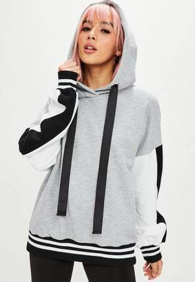 Missguided Grey Colour Block Oversized Hoodie