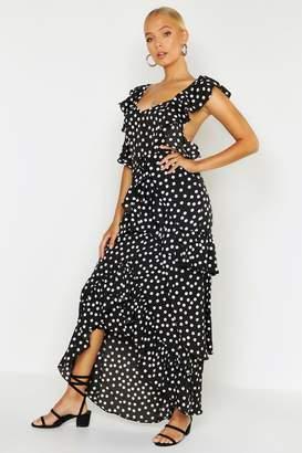 boohoo Woven Spot Ruffle Split Maxi Dress