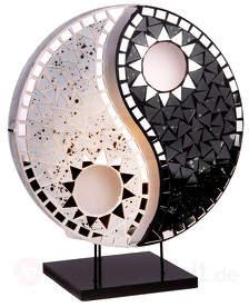 Toll designte Tischleuchte Ying Yang schwarz weiß