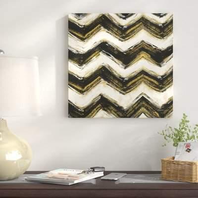 Wayfair 'Black and Gold Geometric IV Crop' Print on Canvas