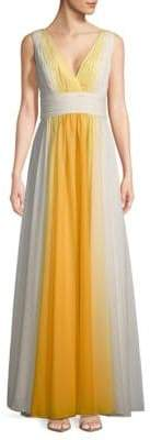 Halston Shirred Ombre Floor-Length Gown