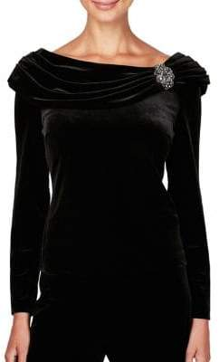 Alex Evenings Beaded Ruched Velvet Blouse