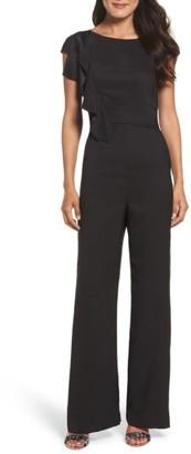 Women's Eliza J Ruffle Sleeve Crepe Jumpsuit $148 thestylecure.com