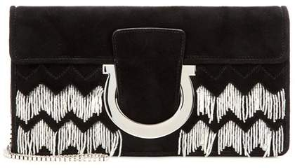 Salvatore Ferragamo Thalia embellished suede clutch