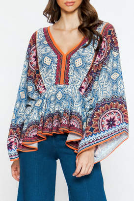 Flying Tomato Boho Bellsleeve Top