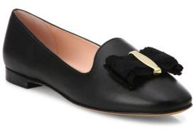Salvatore Ferragamo Elisabella Leather Smoking Slippers $550 thestylecure.com