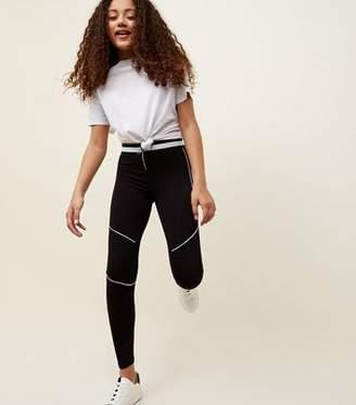 New Look Teens Black Pipped Zip Front Leggings