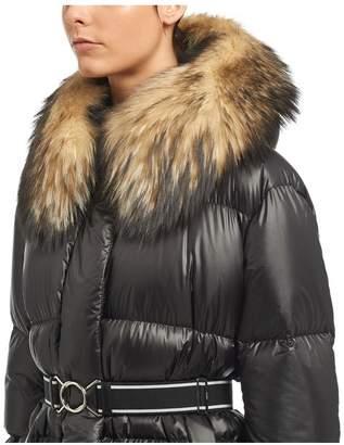 Prada Ripstop Puffer Jacket With Fur Trim