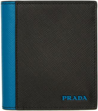 Prada (プラダ) - Prada ブラック and ブルー サフィアーノ アクティブ ウォレット