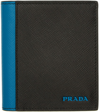 a5bf6cd3c429 Prada Black and Blue Saffiano Active Wallet