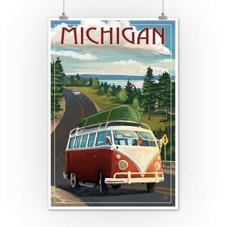 Michigan - VW Van & Lake - Lantern Press Artwork (12x18 Art Print, Wall Decor Travel Poster)