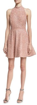 Alice + Olivia Hollie Sequined Fit-and-Flare Racerback Dress, Pink $1,295 thestylecure.com