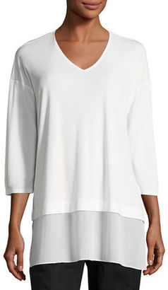 Eileen Fisher 3/4-Sleeve Silk Jersey Blouse, Plus Size $278 thestylecure.com