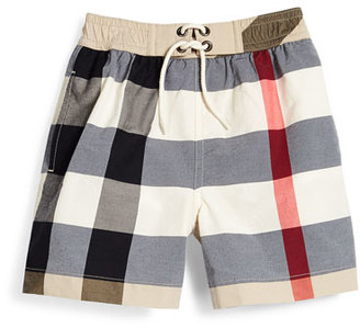 Burberry New Classic Check Swim Shorts, Tan, Size 4-14 $95 thestylecure.com