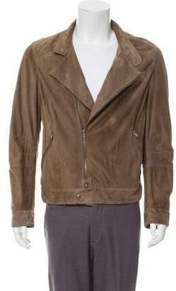 Brunello Cucinelli Suede Zip-Up Moto Jacket
