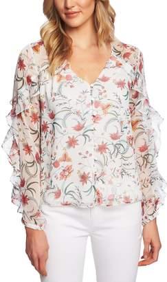45d8d2af5848f2 CeCe Marrakesh Floral Ruffle Blouse