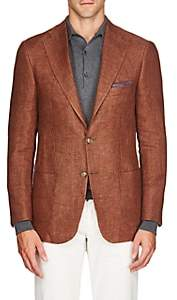 Piattelli MEN'S LINEN TWO-BUTTON SPORTCOAT-RUST SIZE 40 R