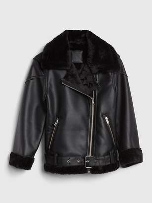 Gap Faux-Fur Biker Jacket