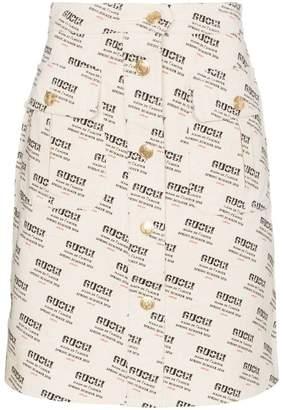Gucci Invite Stamp Print A-Line Skirt