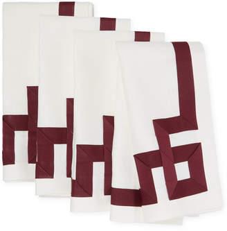 Ann Gish Set Of 4 Mariana Key Linen Napkins