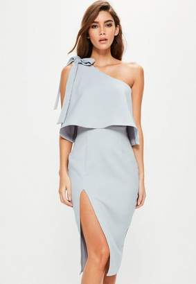 Missguided Gray Crepe One Shoulder Bow Sleeve Midi Dress