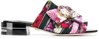 Dolce & Gabbana embellished floral print sandals