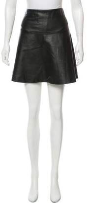 Milly Leather Mini Skirt